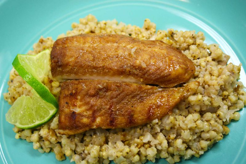 Gluten Free Lime Fish Sorghum Pilaf Recipe